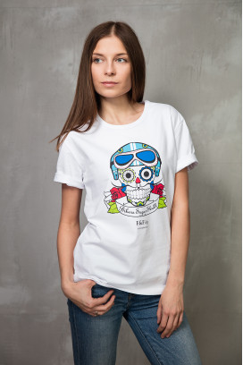 Женская футболка  Sugar Scull Blue